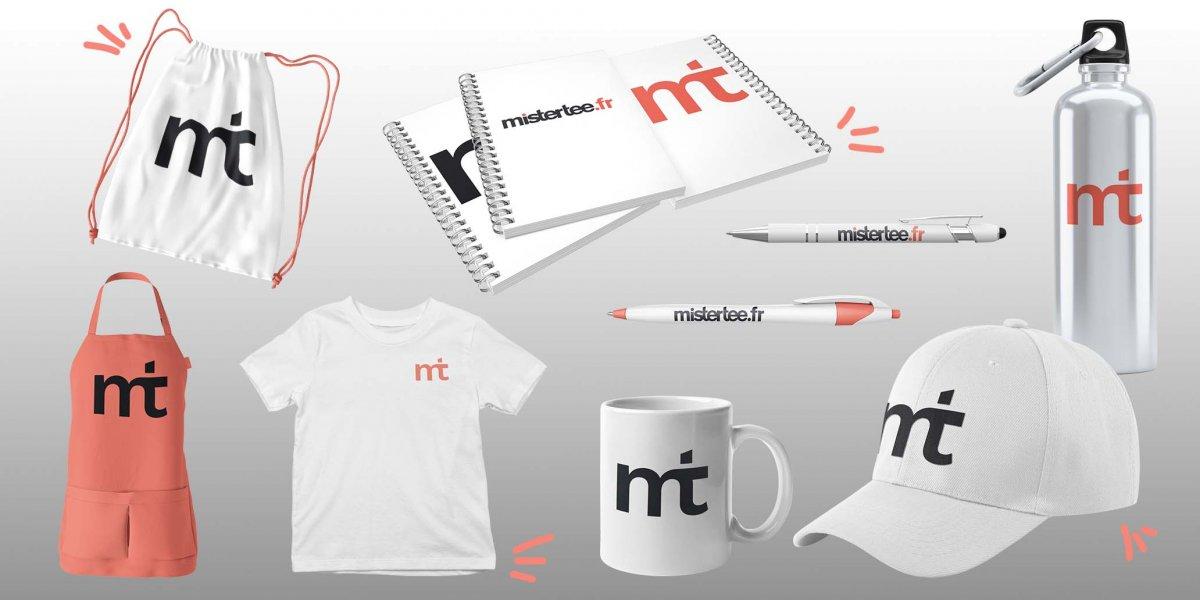 Collection d'objets et goodies personnalisés au logo de mistertee.fr