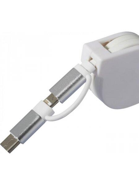 Câble de chargement 3 en 1 en coloris blanc