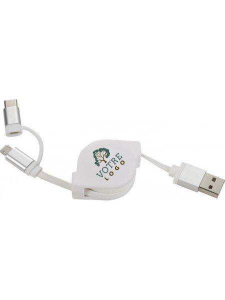 Câble de chargement 3 en 1 en coloris blanc avec exemple de logo imprimé