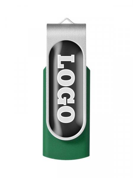 La clé USB rotative avec doming fermée en coloris Vert