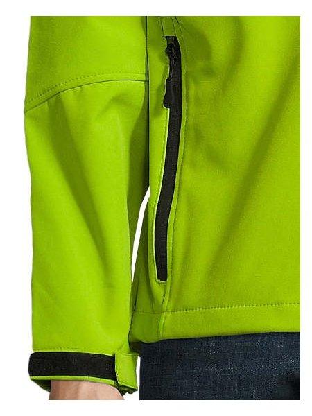 Détails manche et poche de la veste Softshell Relax en coloris Vert Absinthe