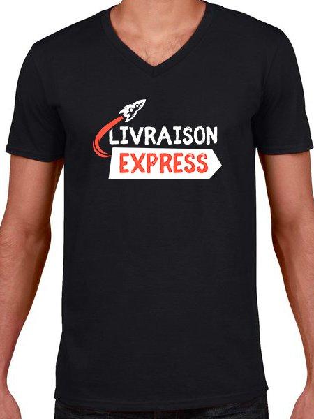 T-shirt col V livraison express en coloris Black