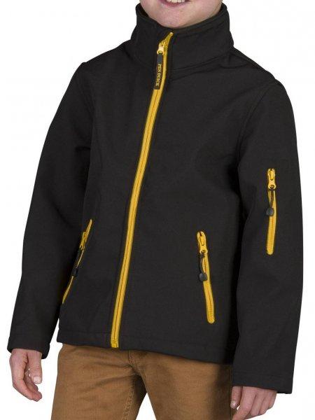 Le mannequin enfant porte la veste softshell à zips bicolores PK767 personnalisable en coloris Black Gold