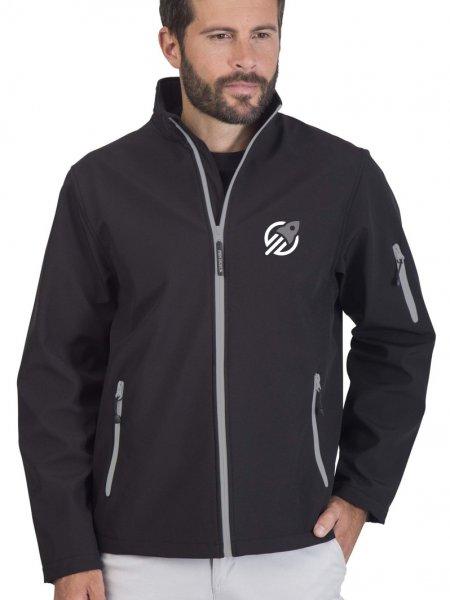 Le mannequin homme porte la veste softshell zippée bicolore PK768 à personnaliser en coloris Black Silver