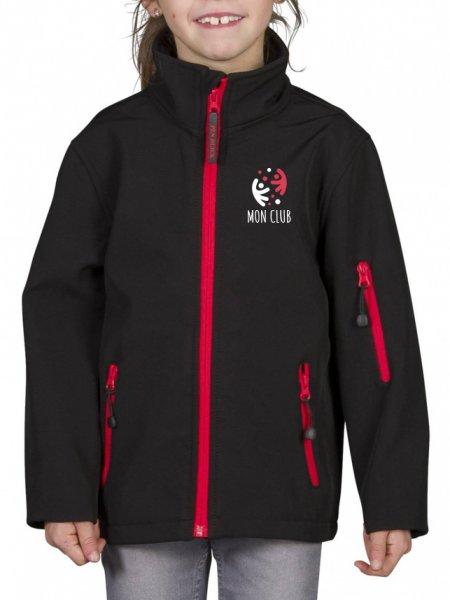 Le mannequin enfant porte la veste softshell zippée contrastée PK767 à personnaliser en coloris Black Red