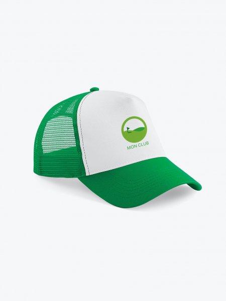 La casquette trucker à filet B640 à personnaliser en coloris Pure Green / White