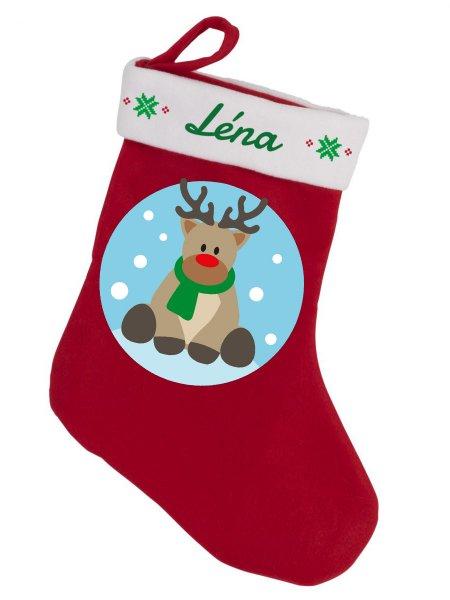 Botte de Noël à mettre sur la cheminée ou un sapin, rouge et blanche avec exemple de personnalisation