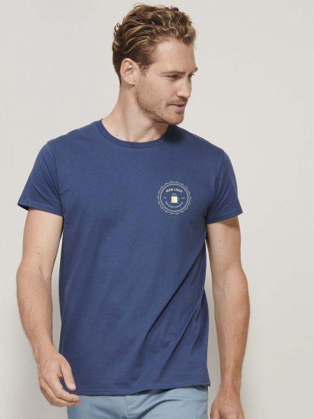 Exemple de logo imprimé sur le coeur du tee-shirt en coton bio Crusader en coloris Denim