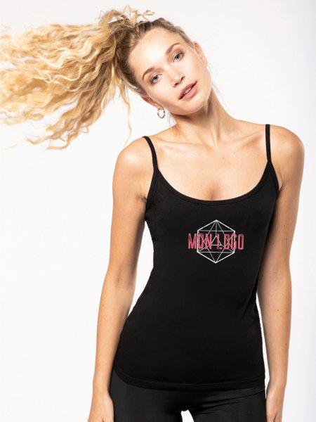 Débardeur pour femme K397 en coloris Black avec exemple de logo imprimé