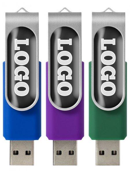 La clé USB rotative avec doming personnalisable disponible en 8 coloris