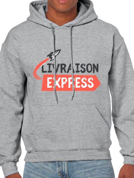 Le sweat à capuche à personnaliser en coloris Sport Grey livré chez vous en express