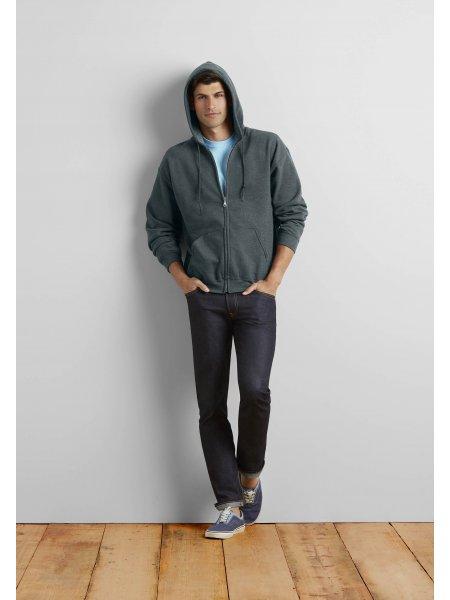 Le mannequin homme porte le sweat zippé à capuche GI18600 à personnaliser en coloris Dark Heather