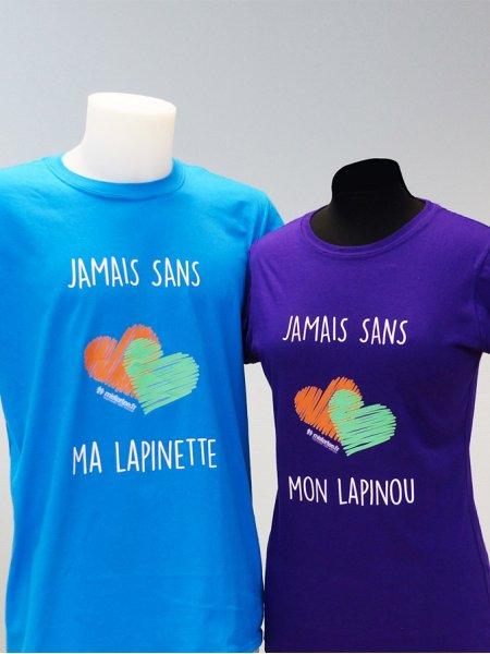 Les t-shirts GI6400 et GI6400L en coloris Sapphire et Purple personnalisés par marquage Quadriflex