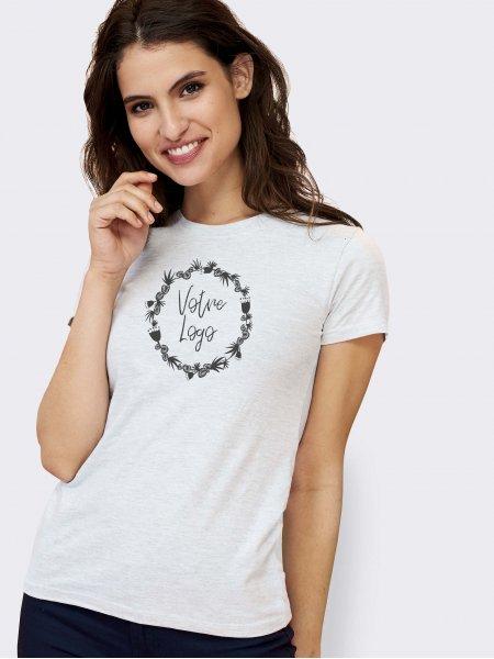 Tee shirt Imperial femme en coloris blanc chiné avec exemple de logo imprimé