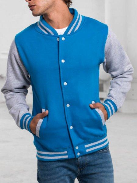 Veste teddy JH043 coloris Sapphire Blue / Heather Grey porté par un mannequin homme