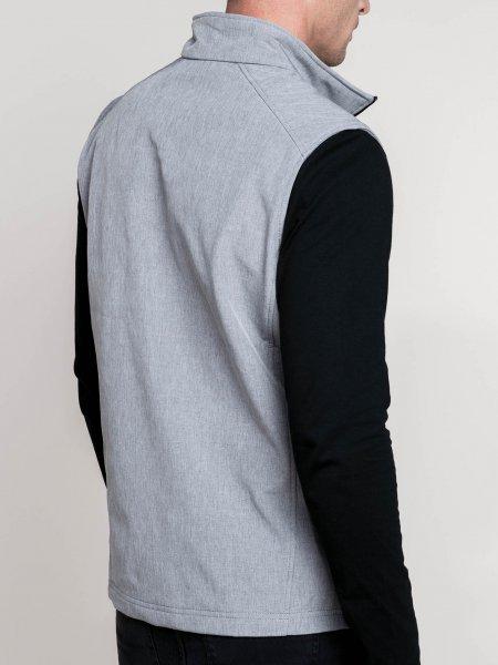 Le mannequin homme porte le bodywarmer softshell K403 de dos à personnaliser en coloris Marl Grey