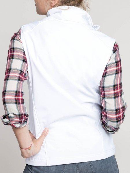 Le mannequin femme porte le bodywarmer K404 de dos à personnaliser en coloris White