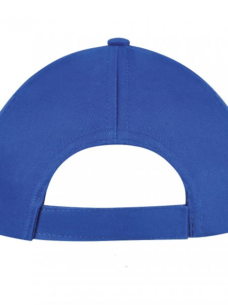 Zoom sur la fermeture réglable par bande auto-agrippante de la casquette KP116 personnalisable en coloris Royal Blue