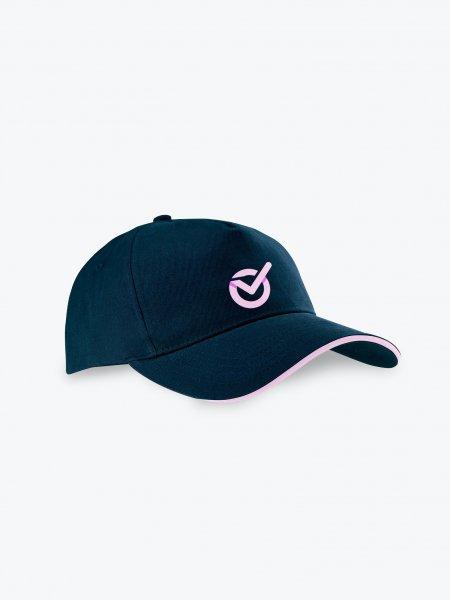 Vue de côté de la casquette KP124 à personnaliser en coloris Navy / Pink
