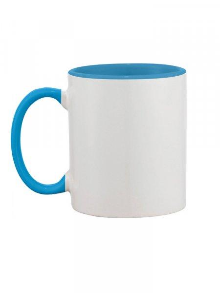 Le mug bicolore à personnaliser en coloris bleu ciel