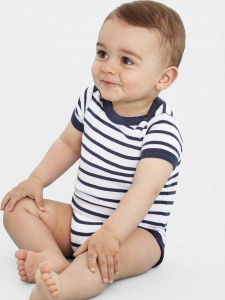 Body pour bébé à rayures Miles Baby en coloris Blanc/Marine
