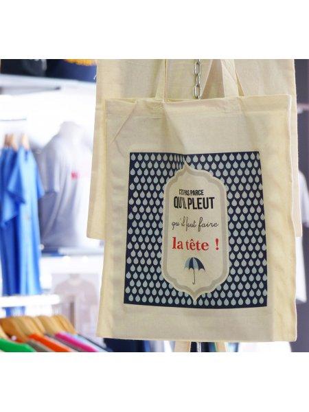 Le sac shopping W101 personnalisé par impression numérique directe (DTG) en coloris Natural