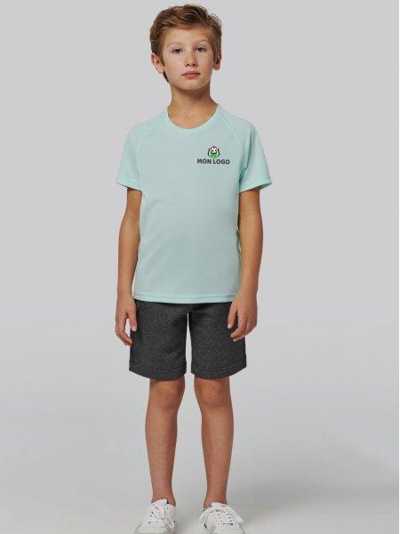 Exemple de logo floqué sur le tee-shirt de sport pour enfant PA445 en coloris Ice mint