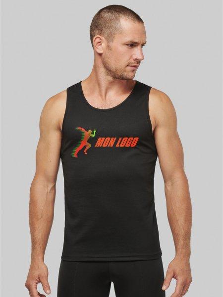 Débardeur de sport pour homme PA441 en coloris Black avec exemple de logo floqué