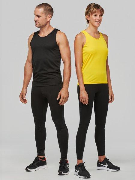 Débardeurs de sport modèles homme et femme en coloris Black et True Yellow