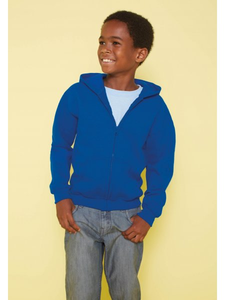 Le mannequin enfant porte le sweat à capuche zippé GI18600B à personnaliser en coloris Royal Blue