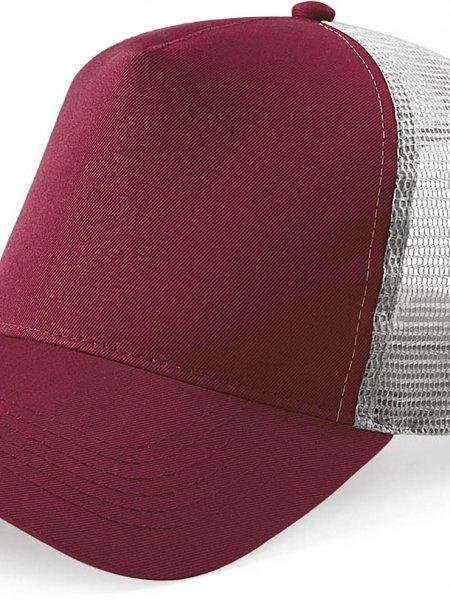 La casquette trucker à filet B640 à personnaliser en coloris Burgundy / Light Grey