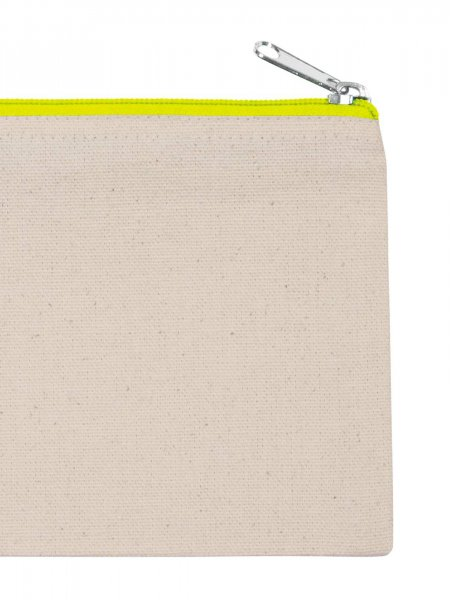 La pochette en coton KI0720 à personnaliser en coloris Natural / Fluorescent Yellow