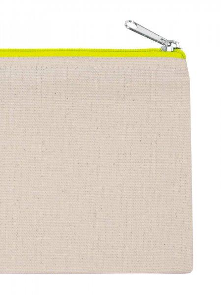 La pochette en coton KI0720 à personnaliser en coloris Natural / Fluorescent Yellow