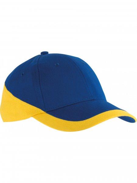 La casquette à personnaliser KP045 en coloris Royal Blue / Yellow