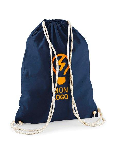 Le sac à dos avec cordelettes en coton W110 à personnaliser en coloris Navy