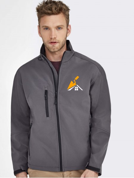 Veste Softshell Relax en coloris Anthracite avec exemple de logo imprimé