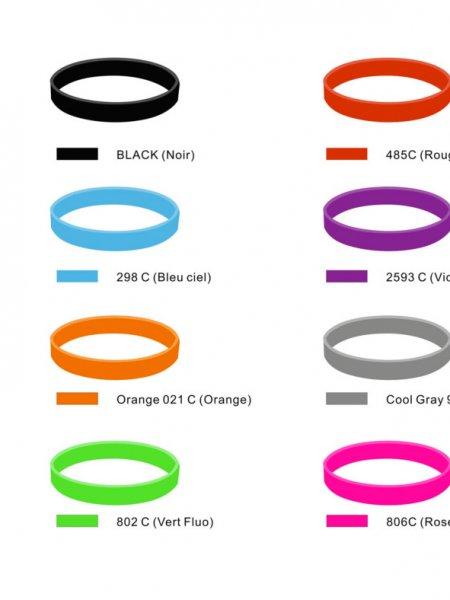 Les 16 coloris disponibles du bracelet silicone à persnnaliser