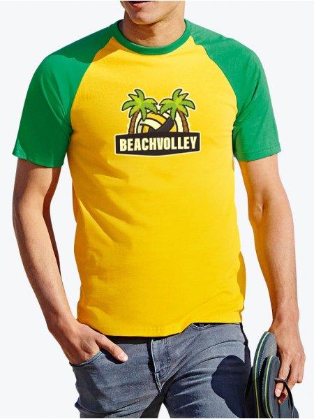 Le mannequin homme porte le t-shirt SC61026 à manches raglan contrastées personnalisable en coloris Sunflower / Kelly