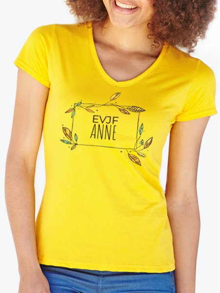 2c753c5b5af21 T-shirt coupe femme col V à personnaliser - SC61398 | Mister Tee