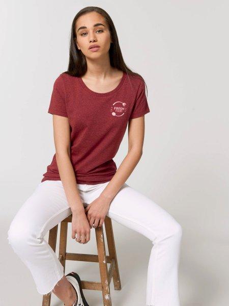 Tee shirt femme Expresser coloris Heather neppy burgundy avec exemple de logo coeur