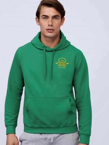 Sweat à capuche Slam coloris vert prairie avec exemple de logo imprimé