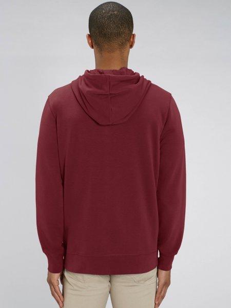 dos du sweat zippé Connector coloris burgundy porté par un mannequin homme
