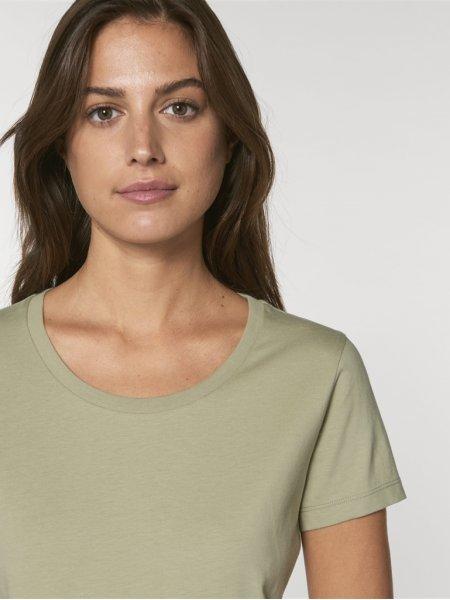 Détails de l'encolure et de la manche Tee shirt femme Expresser coloris Sage