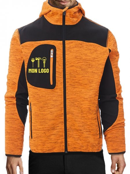 Veste Softshell à capuche effet chiné Trip en coloris Orange fluo avec exemple de logo imprimé
