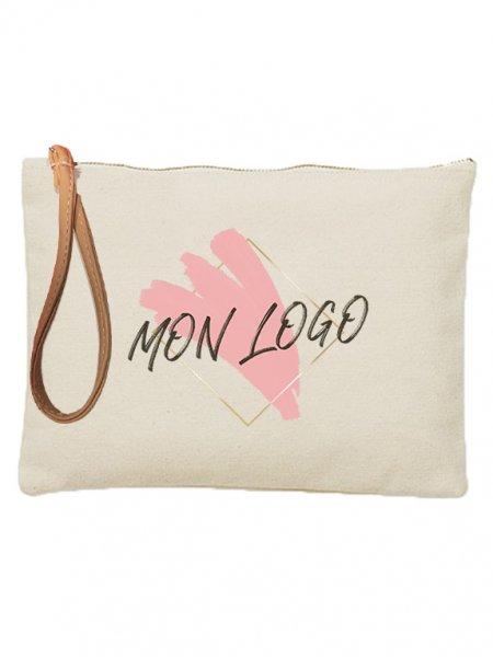 Pochette en coton avec lanière et exemple de logo imprimé