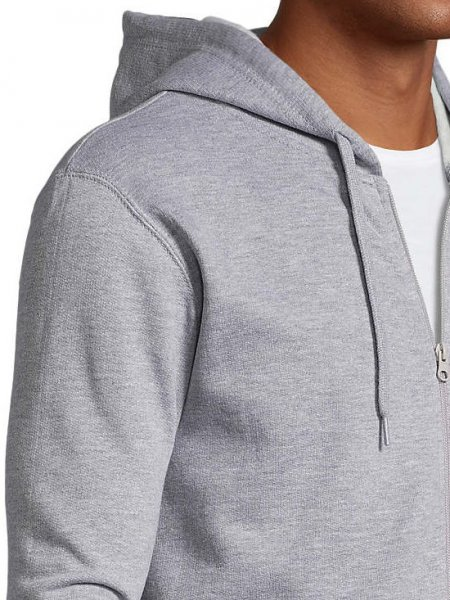 Zoom sur la capuche, le zip et l'épaule du sweat zippé Stone en coloris gris chiné