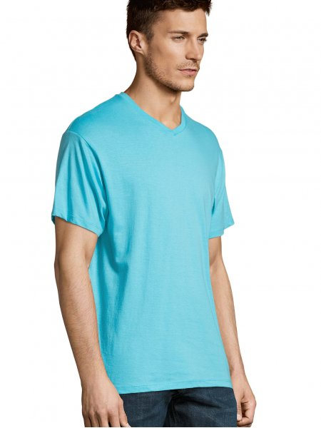 T shirt col V Victory en coloris Bleu atoll