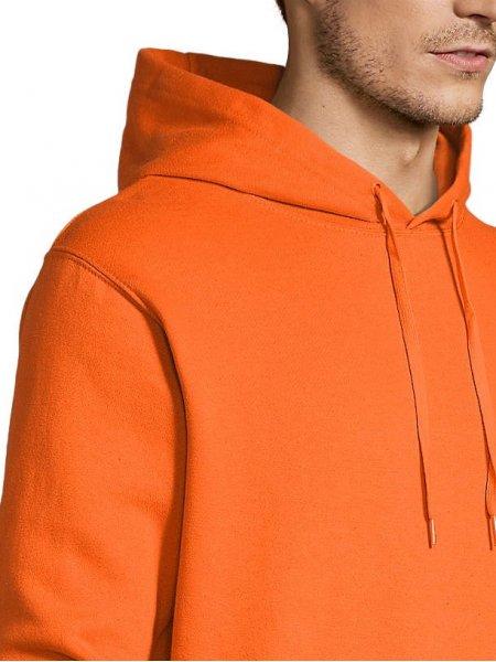 Zoom sur les détails capuche et épaule sweat Slam en coloris orange
