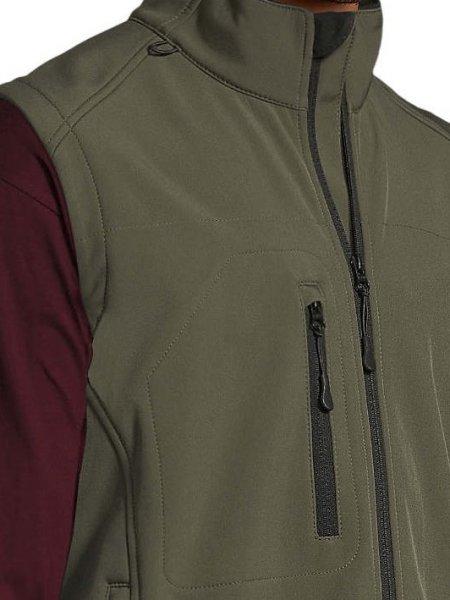 Zoom sur les détails de la veste Softshell sans manches Rallye en coloris Army, poche et fermeture éclaire