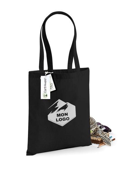 Le sac shopping en coton bio W801 à personnaliser en coloris Black